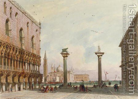 The columns of San Marco and San Teodoro with the San Giorgio Maggiore beyond, Venice by Carl Friedrich H. Werner - Reproduction Oil Painting