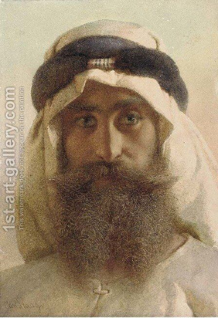 Hassan Ben Moosa, a bedowee of the Howareen Tribe by Carl Haag - Reproduction Oil Painting