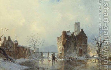 Hunters with their Dogs on a Frozen Stream by a Castle by Carl Hilgers - Reproduction Oil Painting