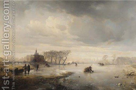 Skaters on a frozen lake, with a manor beyond by Carl Hilgers - Reproduction Oil Painting
