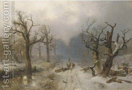 Sunset over a snowcovered forest by Carl Hilgers - Reproduction Oil Painting