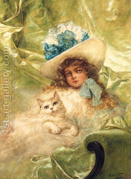 Portrait Of A Young Girl by Carl Kahler - Reproduction Oil Painting