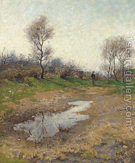 A traveller in a field near Carlsruhe by Carl Kehr - Reproduction Oil Painting