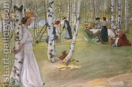 Breakfast in the open (Frukost i det grona) by Carl Larsson - Reproduction Oil Painting
