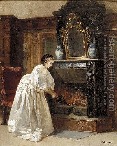 Tending to the fire by Carl Ludwig Friedrich Becker - Reproduction Oil Painting