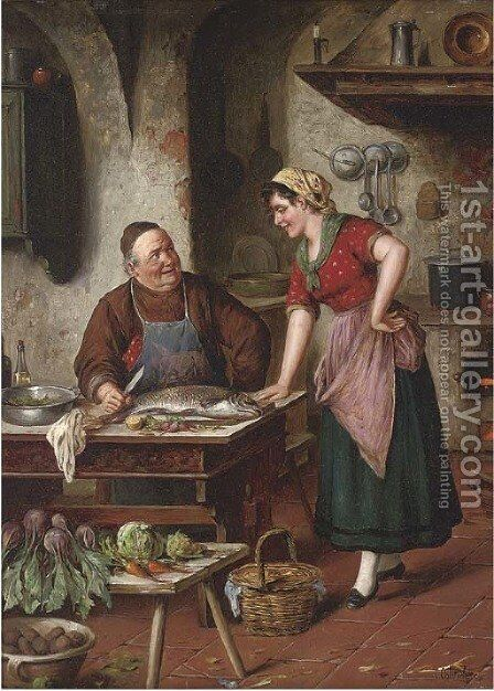 Discussing the recipe by Carl Ostersetzer - Reproduction Oil Painting