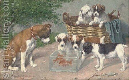 A curious distraction by Carl Reichert - Reproduction Oil Painting
