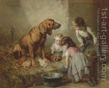 Seeing After the Pups by Carl Reichert - Reproduction Oil Painting
