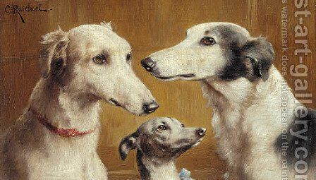 Three salukis by Carl Reichert - Reproduction Oil Painting