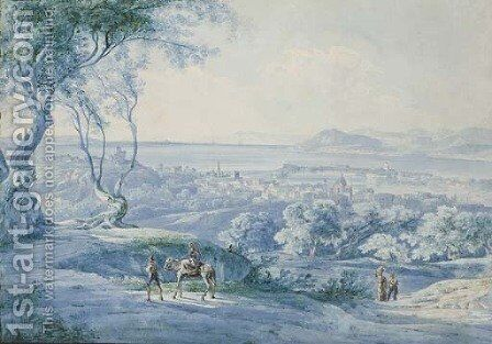 Figures on a road, a bay seen beyond by Carl Rottmann - Reproduction Oil Painting