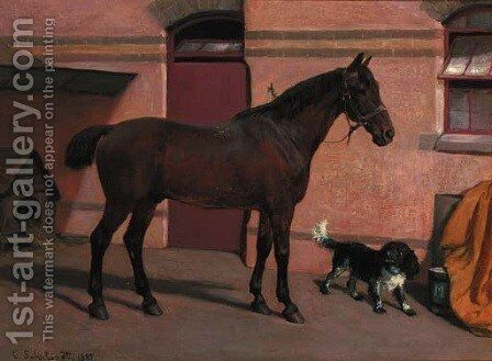 A bay hunter with a spaniel in a stable yard by Carl Suhrlandt - Reproduction Oil Painting