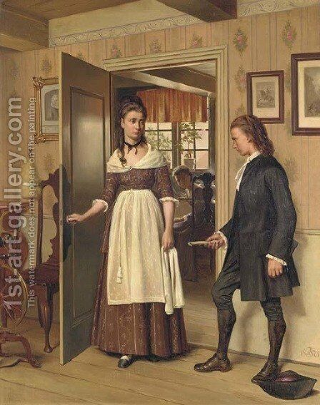 The Letter by Carl Christian Frederik Jacob Thomsen - Reproduction Oil Painting