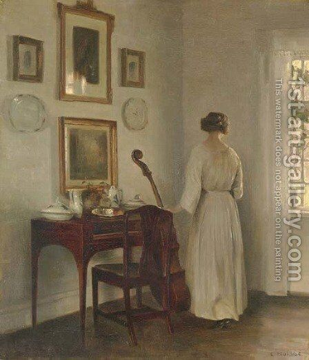 Woman in an Interior by Carl Vilhelm Holsoe - Reproduction Oil Painting