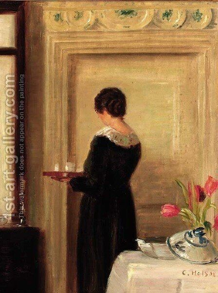 Afternoon tea by Carl Vilhelm Holsoe - Reproduction Oil Painting