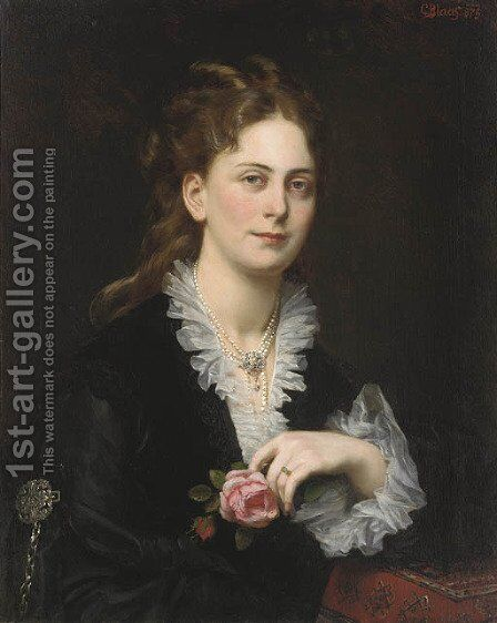 Portrait of Antonie Freifrau von Doblhoff, bust-length, holding a rose by Carl Von Blaas - Reproduction Oil Painting