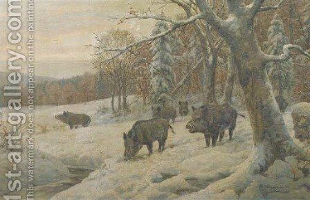 Venturing out of the snowy forest by Carl Friedrich Zimmermann - Reproduction Oil Painting