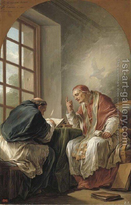 Saint Gregory dictating his homilies a modello by Carle van Loo - Reproduction Oil Painting