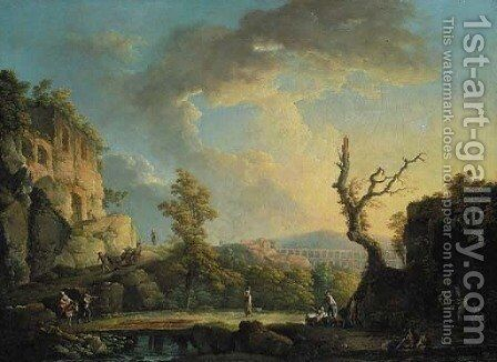 An extensive Italianate river landscape with travellers and soldiers in the foreground, a Roman aqueduct beyond by Carlo Bonavia - Reproduction Oil Painting