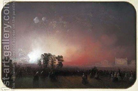 Fireworks over Bridgewater House on the occasion of the Peace Celebrations after the Crimean War, May 1856 by Carlo Bossoli - Reproduction Oil Painting
