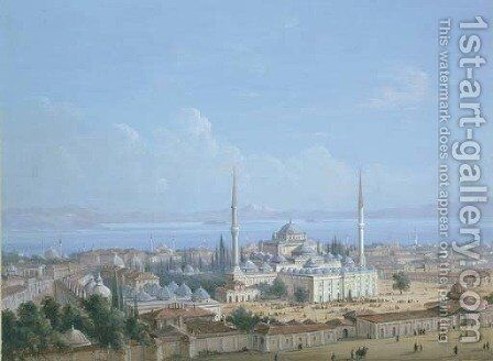 The Sultan Beyazit II Mosque Complex with a View of the Golden Horn beyond, Constantinople by Carlo Bossoli - Reproduction Oil Painting
