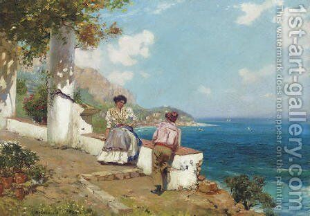 Courting Couple, Naples by Carlo Brancaccio - Reproduction Oil Painting