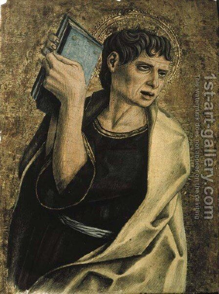 A male saint holding a book by Carlo Crivelli - Reproduction Oil Painting