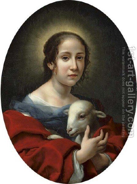 The artist's wife, Teresa Bucherelli, as Saint Agnes by Carlo Dolci - Reproduction Oil Painting