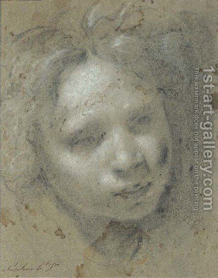Head of a child, looking down to the right by Carlo Francesco Nuvolone - Reproduction Oil Painting