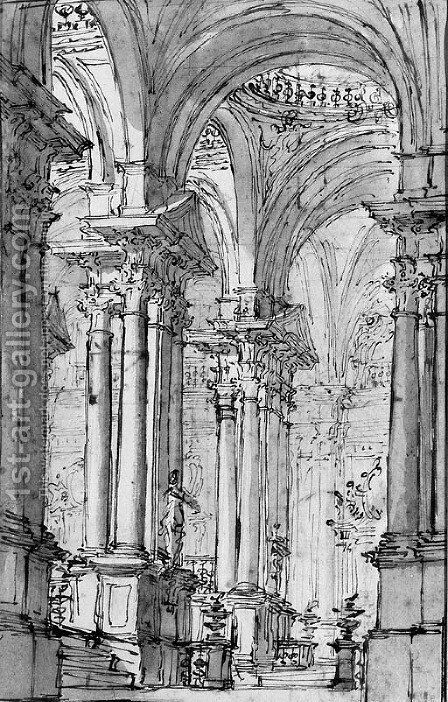 View of the terraced Colonnade of a Palace by Carlo Galli Bibiena - Reproduction Oil Painting