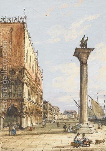 View of the Riva degli Schiavoni from the Piazzetta, Venice, the Doges' Palace to the left by Carlo Grubacs - Reproduction Oil Painting