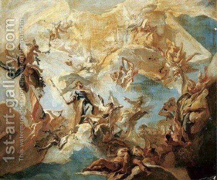 A bozzetto for a ceiling Merit crowned by Nobility by Carlo Innocenzo Carlone - Reproduction Oil Painting