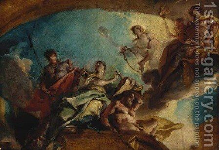 A hero before the muse of History by Carlo Innocenzo Carlone - Reproduction Oil Painting