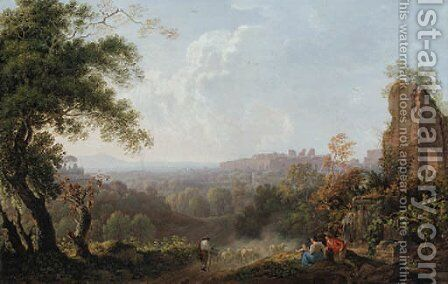 A capriccio landscape of the Roman Campagna, with a shepherd driving his flock by Carlo Labruzzi - Reproduction Oil Painting