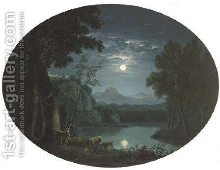 A moonlit landscape with deer by a lake, a hilltop castle beyond by Carlo Labruzzi - Reproduction Oil Painting