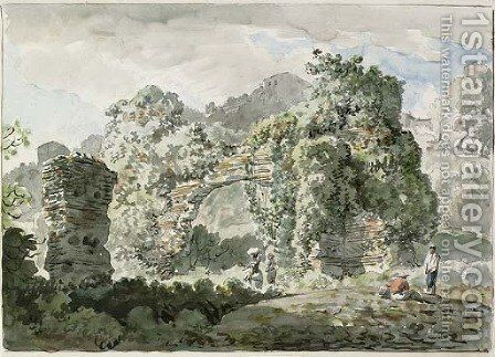 A ruined aqueduct in front of a villa on the road to Ariccia by Carlo Labruzzi - Reproduction Oil Painting