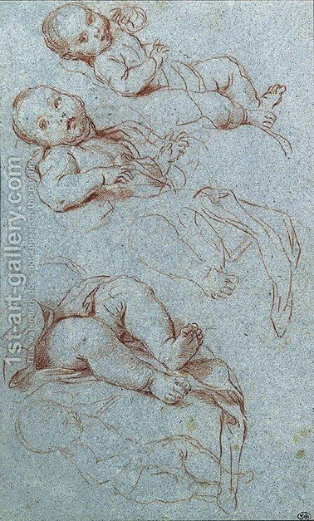 Four studies for the infant Virgin by Carlo Maratta or Maratti - Reproduction Oil Painting