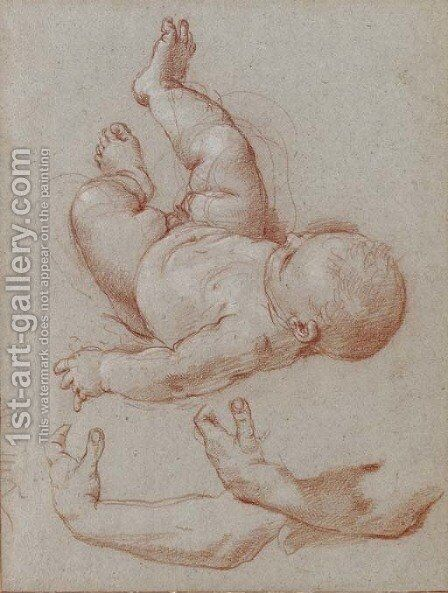 The infant Romulus and two studies of a man's left arm by Carlo Maratta or Maratti - Reproduction Oil Painting