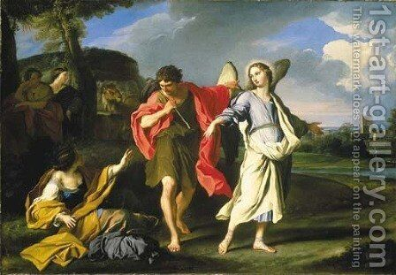 Tobias and the Angel by Carlo Maratta or Maratti - Reproduction Oil Painting