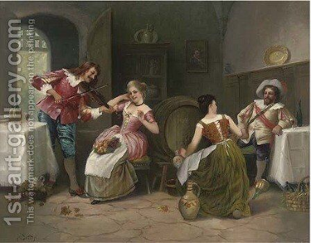 A drink and a fiddle by Carlo Valensi - Reproduction Oil Painting