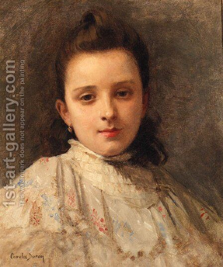 A Portrait Of A Young Girl by Carolus (Charles Auguste Emile) Duran - Reproduction Oil Painting