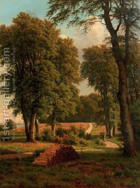 A woodgatherer on a path by Carsten Henrichsen - Reproduction Oil Painting