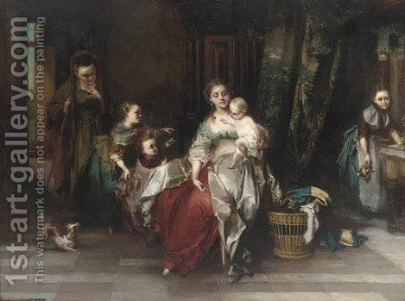The centre of attention by Casimir Van Den Daele - Reproduction Oil Painting