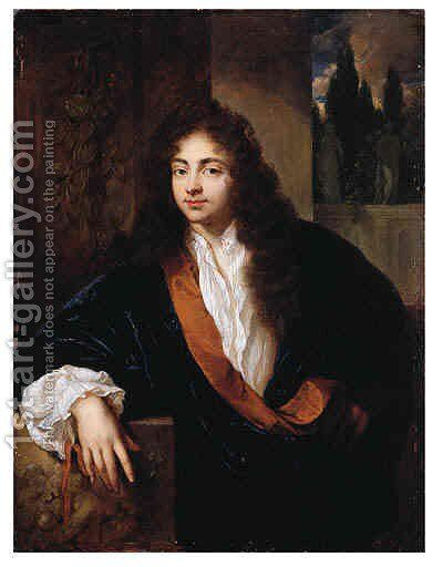 Portrait of a Gentleman, standing small half length on a balcony, wearing an orange-lined blue silk dressing-gown with lace chemise and wig, his right by Caspar Netscher - Reproduction Oil Painting