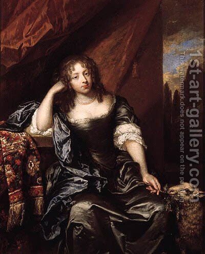 Portrait of a lady, seated small three quarter length on a draped balcony, wearing a grey silk dress with lace chemise, blue wrap and pearl necklace, by Caspar Netscher - Reproduction Oil Painting