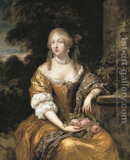 Portrait of a lady, three-quarter-length, in a gold satin gown, seated in a garden by Caspar Netscher - Reproduction Oil Painting