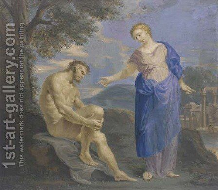 A woman addressing a seated nude in a classical landscape by Catherina Da Costa - Reproduction Oil Painting