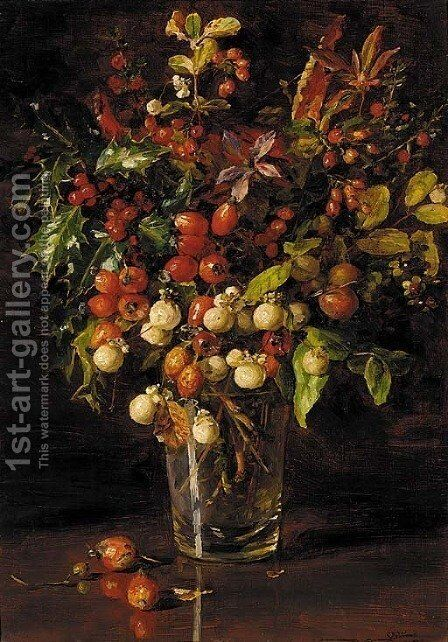 Autumn berries by Catherine M. Wood - Reproduction Oil Painting