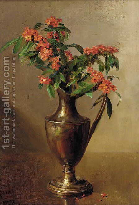 Milkweed in a ewer by Catherine M. Wood - Reproduction Oil Painting