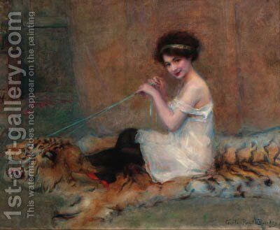 A young girl playing on a rug by Baudry Paul - Reproduction Oil Painting