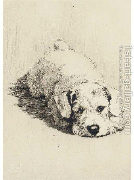 A sealyham puppy by Cecil Charles Aldin - Reproduction Oil Painting